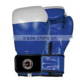 Blue and White Dual Colour Boxing Artificial Leather Gloves with Latice and Under Lay Foam