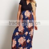 Floral Bottom Summer Maxi Dress Pregnancy Clothes Long Maternity Dress