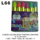 L66 6 NEON COLORS BODY PAINTING CRAYONS