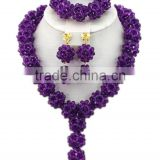One Row Ball Crystal Beads Y shape Necklace Nigerian Jewelry Set