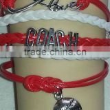 2015 factory price red and white leather baseball bracelet new arrival