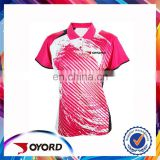 100% polyester coolmax pink polo t shirt, colorful sublimated golf wear