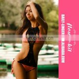New Sexy knitted crochet one piece swimsuit Fashion Women Handmade Hollow Out Halter Bandage Batting Swimsuit