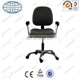 black ESD fabric chair with handrail