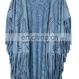 fashion women waterproof faux suede fabric asymmetric fringed cape tassel shawl scarf kimono blouse poncho