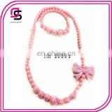 Fake Pearl Necklace And Bracelet Jewelry Set With Bow for children