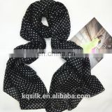 Screen printing 100% silk shawl long silk habotai head scarves for women with small polka dots