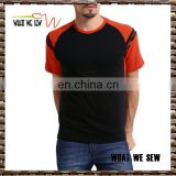 2016 latest men fashion t shirt wholesale plain 100% cotton black red slim fit men t-shirt