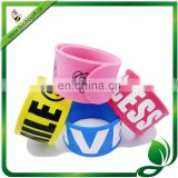 custom silicone snap band, slap wristband for promotion, silicone snap bracelet