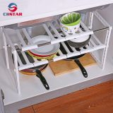 2 tier expandable adjustable metal under sink shelf rack and foldable storage kitchen utensil organizer shelf