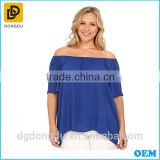 Plus size clothing fashion apparel summer women short sleeve off the shoulder high-low hem blouse