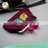 pink pearl kiss lock metal frame PU wallet for kids