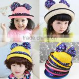 Toddler Children Kids Girl Summer Sunhat Straw Hat with bow ears