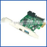 PCI express X1 to USB3.1 Gen1 USB3.0 with header USB 19pin converter expansion card adapter