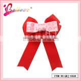 Red grosgrain ribbon bow valentines day gift wholesale cheer bows hair clip for girlfriend (QRJ-0028)