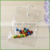 Clear garment / stockings / wig Hanging plastic pouch / bag with button closure