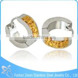 ZS19059 stainless steel self piercing shimmer powder ultra thin hoop earrings