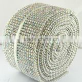 Lower Price 18 Rows Elastic Glass Stone Trimming Mesh in Plastic Ribbon Stetch Stone Sheet Mesh for decoration