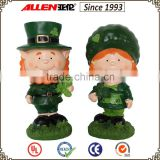 "5.9"" a couple of cute resin figurines with irish spring and shamrock for Irish"