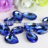 Blue AAA Quality Wholesales Point Back Loose Shapes Teardrop Crystal Glass Beads for Jewelry Cloth Phone Decorating Cheap