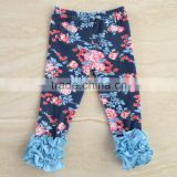 Newest floral toddle girl icing leggings wholesale girls ruffle pants girls triple ruffle pants