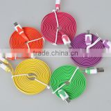multi-color flat wire micro usb a data charging cable for iphone