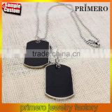 Fashion Men Jewelry Army Style Dog Tag Pendant Necklace 7 Color with Bead Chain