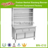 Commercial Stainless Steel Kitchen Bench Cabinet With Sliding Doors,Drawers, over shelves BN-C12(Custom Made)