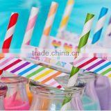 2016 New Eco-friendly Food grade New Design Color Print Drinking Paper Straws