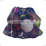 Durable mesh golf balls bag with drawstring customized tag mesh pouches with string