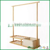 exquisite wooden bamboo bathroom towel/ storage rack with laundry basket