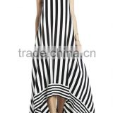 100% silk summer high-low striped ladies casual dresses pictures