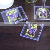 Wholesale Blank blossom printed custom shape clear glass table mat coaster for promotion gift item