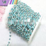 15 FEET 1 Yard SS16 4mm Aquamarine/Light Blue Crystal Siver Plated Rhinestone Chain Trims Cup Chain Wedding Garments Decoration