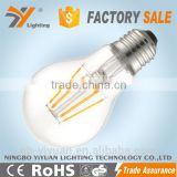 China suppliers 100LM/W A60 6W with TUV CE ROHS, 360 degree light fixture of ceiling Filament led bulb e27