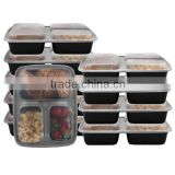 3 Compartment Bento Box / Durable Plastic lunch box food container BPA-Free,Air tight, Meal Prep and Portion Control