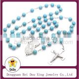 Wholesales Fashion Top Quality Stainless Steel 8MM Blue Turquoise Beads Catholic Crucifix Religious Rosary Beads Prayer Necklace