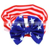 Independence Day Flag Red White Blue kids elastic hair headbands designs -knitted bow headwraps wholesale
