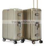 Aluminium carry-on luggage trolley bags for business trip or travel with 100% aluminium alloy shell and TSA lock