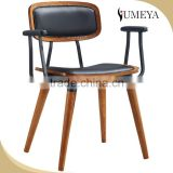 Wholesale french stackable Imitation wood chair, arm chair aluminum bistro chair with pu leather seat