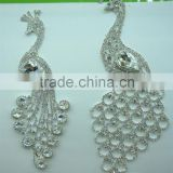 Top Sell Silver Beaded Rhinestone Trim Applique For Wedding Dress