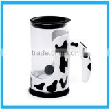 Factory Price Electric Milk Protein Shaker Mug With Lid,Cow Pattern Automatic Mixing Coffee Cup