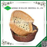 Large colored custom round woven pet bed wicker with cushion