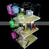 KM-VP54 Acrylic hamster cage with light,clear hamster box,customized clear acrylic pets container