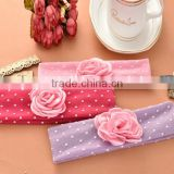China supplier colorful baby or girl's cotton headband with flower,many color for you choose