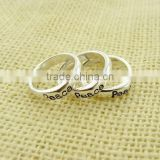 2015 hot sale silver color alloy letter rings for girls