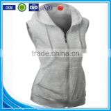 OEM new design cotton plain wholesale sleeveless hoodie women vest with pocket