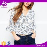 2016 Guangzhou Shandao Brand Name Hot Sale Summer Women 3/4 Flare Sleeve V Neck Flower Printed Chiffon New Model Blouses Fashion