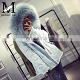 Hot Sale High Quality Winter New Products Raccoon Fur Lining and Raccoon Fur Collar Parka Ladies Denim Jacket