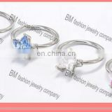 crystal colored captive bead ring with star in stainless steel body piercing jewelry